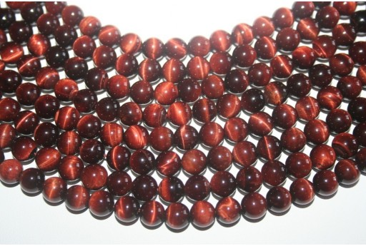 Tiger's Eye Round Bead Strand Red 48pcs 8mm OCDT7