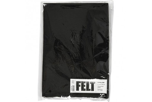 Soft Felt Black 2mm 21x30cm 10 sheets
