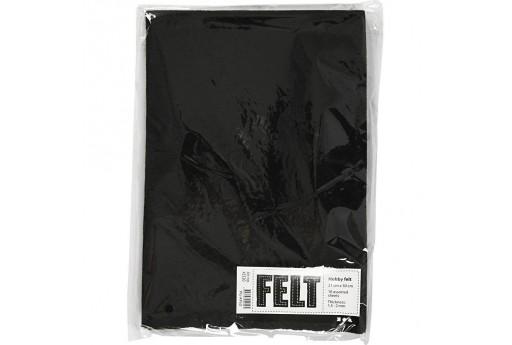 Soft Felt Black 2mm 21x30cm 10 sheets