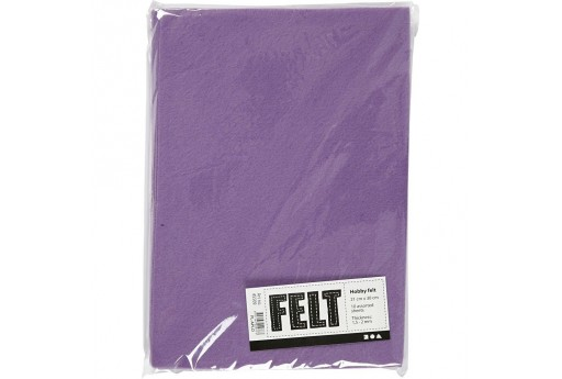 Soft Felt Purple 2mm 21x30cm 10 sheets