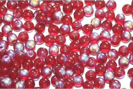 Tondi Vetro di Boemia Ruby AB 4mm - 100pz