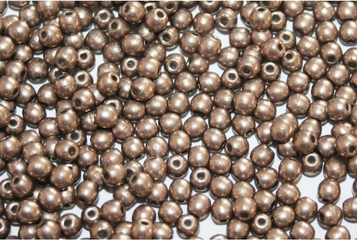 Czech Round Beads Saturated Metallic Hazelnut 3mm - 100pcs