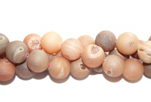 Druzy Agate Plated Beige Smooth Round 14mm - 28pcs