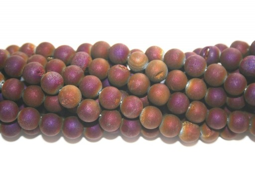 Druzy Agate Plated Purple Smooth Round 8mm - 46pcs