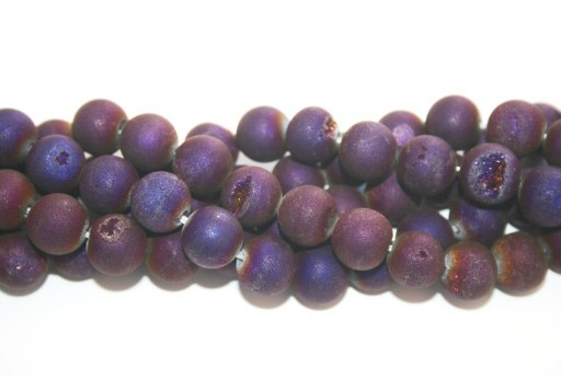 Druzy Agate Plated Purple Smooth Round 10mm - 34pcs