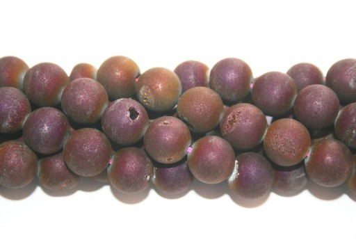 Druzy Agate Plated Purple Smooth Round 12mm - 30pcs