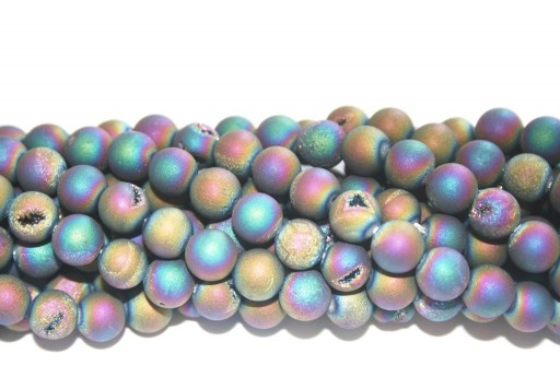 Druzy Agate Plated Purple-Blue Smooth Round 8mm - 46pcs
