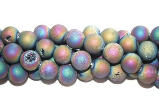 Druzy Agate Plated Purple-Blue Smooth Round 12mm - 30pcs