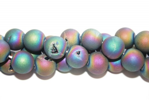Druzy Agate Plated Purple-Blue Smooth Round 14mm - 28pcs