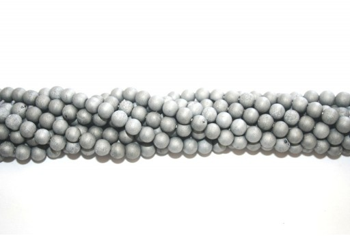 Druzy Agate Plated Grey Smooth Round 6mm - 60pcs