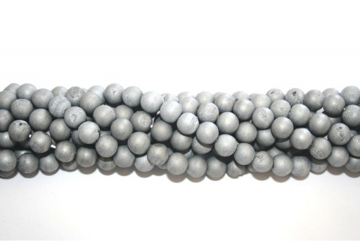 Druzy Agate Plated Grey Smooth Round 8mm - 46pcs