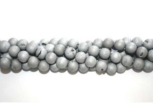 Druzy Agate Plated Grey Smooth Round 10mm - 34pcs