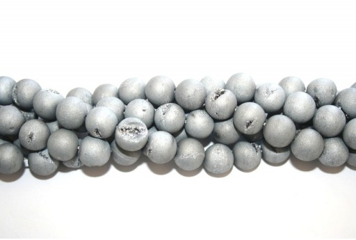 Druzy Agate Plated Grey Smooth Round 12mm - 30pcs