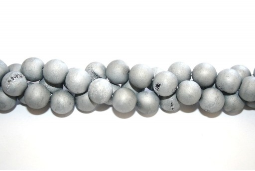 Druzy Agate Plated Grey Smooth Round 14mm - 28pcs