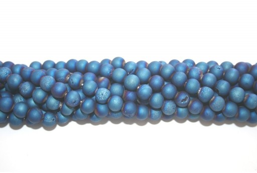 Druzy Agate Plated Blue Smooth Round 8mm - 46pcs