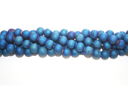 Druzy Agate Plated Blue Smooth Round 10mm - 34pcs