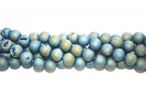 Agata Druzy Plated Frosted Blue Oro - Sfera 12mm - 30pz