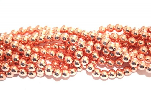 Rose Gold Color Plated Hematite Round Beads 6mm - 68pcs