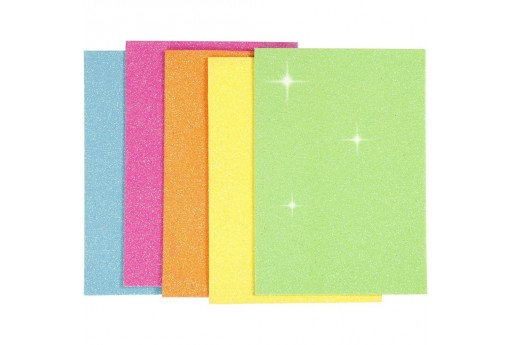 Adhesive Glitter Foam Pastel Colors A5 2mm 5pcs