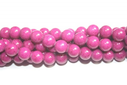 Dyed Mashan Jade Round Beads Cerise 12mm - 32pcs