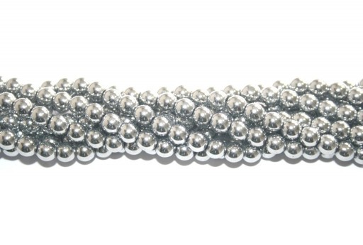 Silver Color Plated Hematite Round Beads 6mm - 68pcs