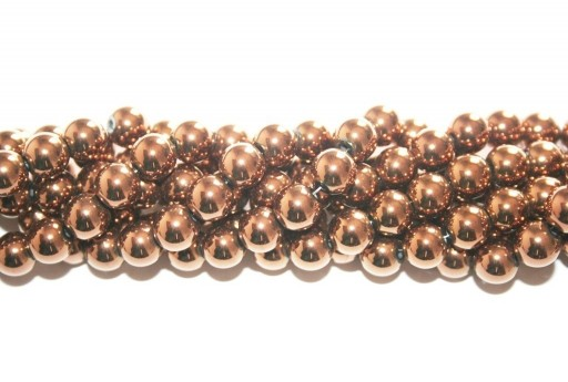 Bronze Color Plated Hematite Round Beads 8mm - 52pcs