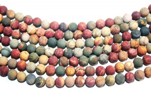 Jasper Picasso Frosted Round Beads 6mm - 60pz