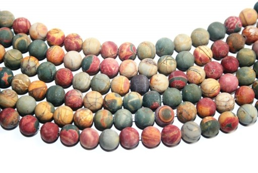 Jasper Picasso Frosted Round Beads 8mm - 48pz
