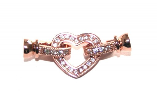 Cubic Zirconia Micro Pave Brass Clasps Rose Gold Heart 30x13mm
