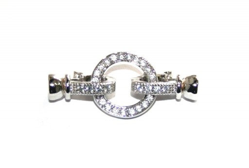Cubic Zirconia Micro Pave Brass Clasps Silver Round 30x13mm
