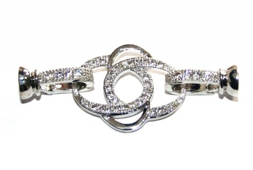 Cubic Zirconia Micro Pave Brass Clasps Silver 36X16mm