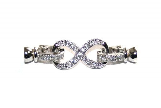 Cubic Zirconia Micro Pave Brass Clasps Infinity Silver 37X10mm