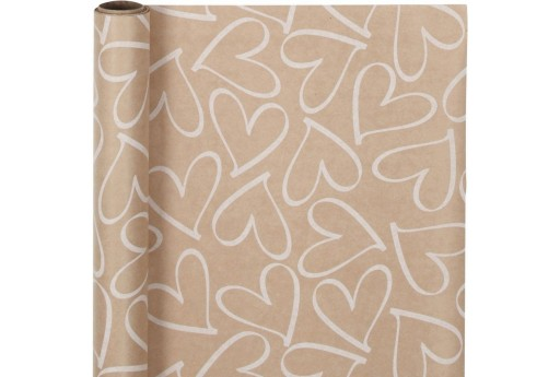Wrapping Kraft Paper with White Hearts 50cm x 5mt