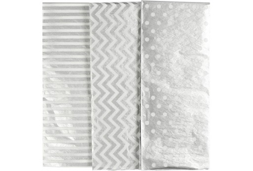 Tissue Paper Silver Patterned 50x70cm - 6pcs