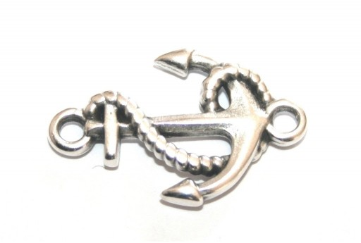 Metal Anchor With Rope Link - Silver 17x26mm - 2pcs