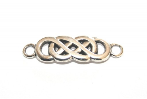 Metal Double Infinity Link - Silver 21x8mm - 1pcs