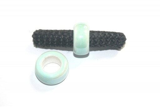 Climbing Ceramic Slider Bead Light Green 9x20mm - 2pcs
