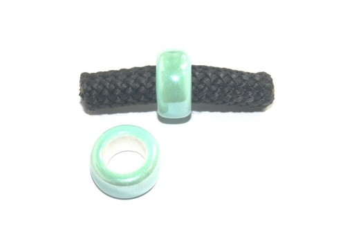 Climbing Ceramic Slider Bead Medium Green 9x20mm - 2pcs