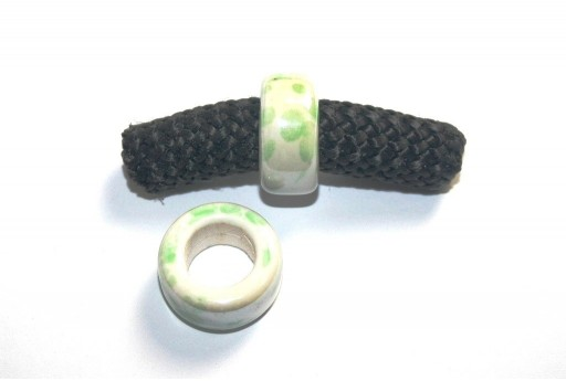 Climbing Ceramic Slider Bead White-Green 9x20mm - 2pcs