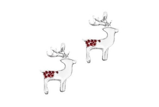 Silver Plated Enameled Charm Reindeer 17x22mm - 1pcs