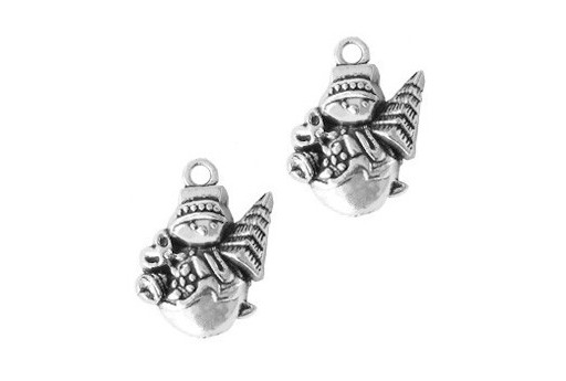 Silver Plated Charm Christmas Snowman 20x14mm - 4pcs