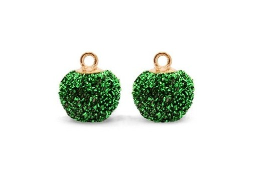 PomPom Green Glitter 12mm - 4pcs