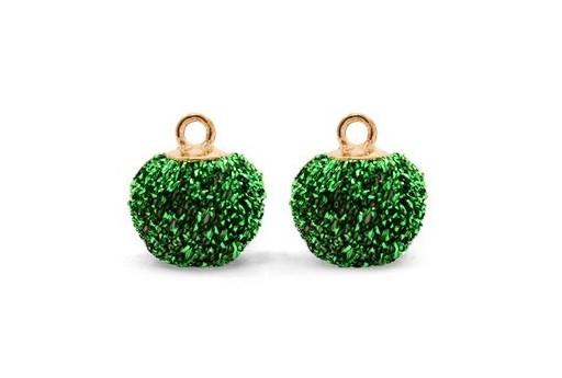 Pon Pon in Tessuto Verde Glitter 12mm - 4pz