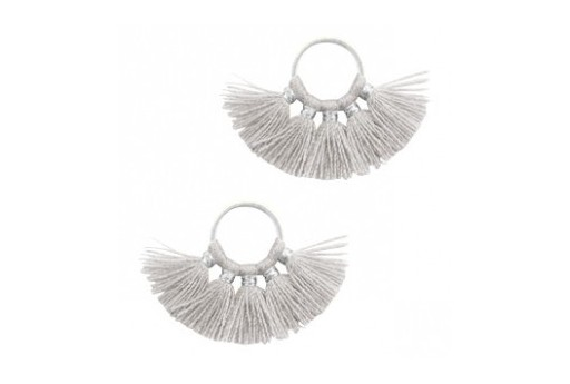 Tassel Fan Grey 28x11mm - 1pcs