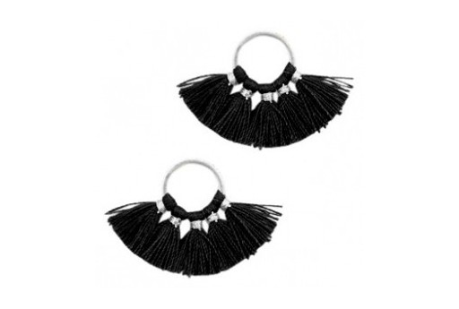 Tassel Fan Black 28x11mm - 1pcs