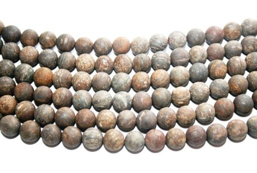 Pietre Dure Bronzite Frosted Tondo 8mm - 46pz