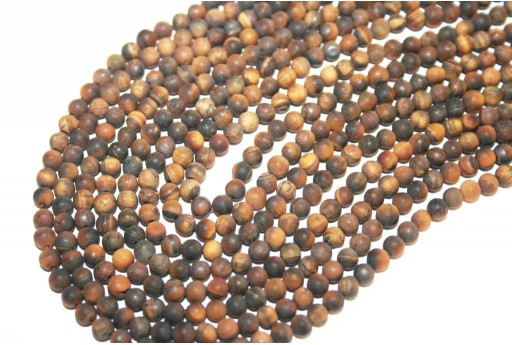 Tiger Eye Frosted Round Beads 4mm - 84pcs
