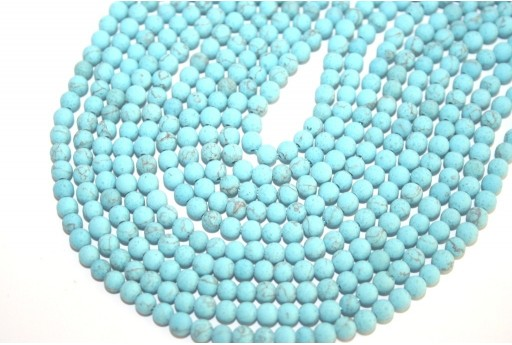 Blue Turquoise Frosted Round Beads 4mm - 98pcs