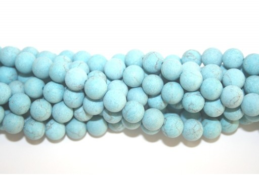 Blue Turquoise Frosted Round Beads 8mm - 48pcs