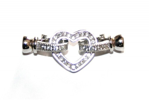 Cubic Zirconia Micro Pave Brass Clasps Silver Heart 30x13mm